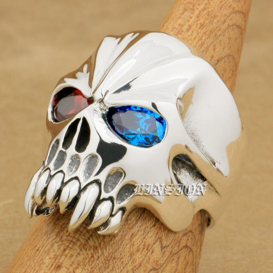 LINSION Huge Heavy 925 Sterling Silver Red + Blue CZ Eyes Skull Mens Biker Rocker Punk Ring 9M704 US Size 7~15