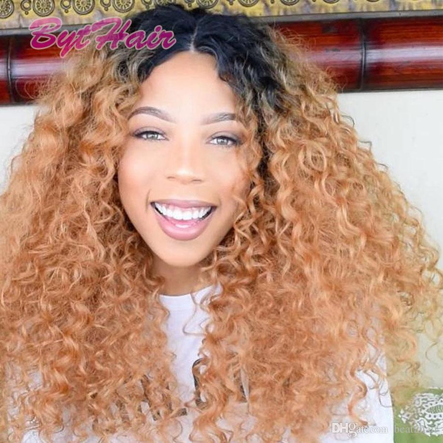 Bythair Two tone Ombre lace front wig 100% Virgin Brazilian glueless full lace wigs 150% High Density kinky curly Ombre human hair wigs