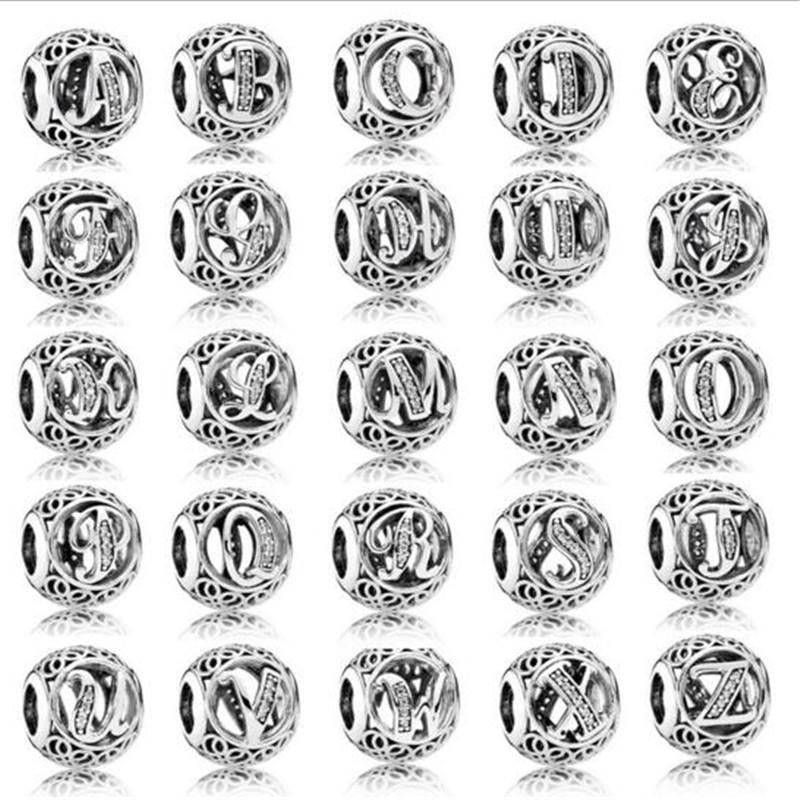 9904759e7b6d Compre 925 De Plata Esterlina Encanto Letras De Los Granos Con Diamante Para  La Joyería Que Hace 26 Cartas Inglesas Caben Encanto Europeo De La Joyería  Para ...