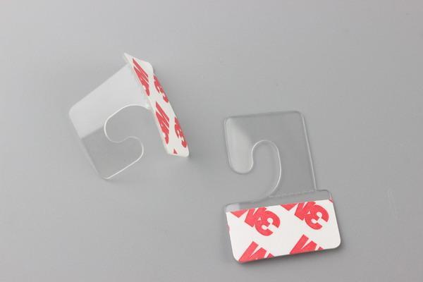 Soporte de embalaje PVC PET Cuelgue Pestañas para colgar Ganchos en la mercadería Paquete Cajas para colgar en la caja Peghooks Pantalla Gancho en J Adhesivo autoadhesivo