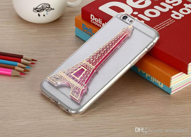 Flowing Quicksand Case For iPhone 6 6s 4G 5G Paris Eiffel Tower Phone Cases Capa Hard PC Night Light Back Cover