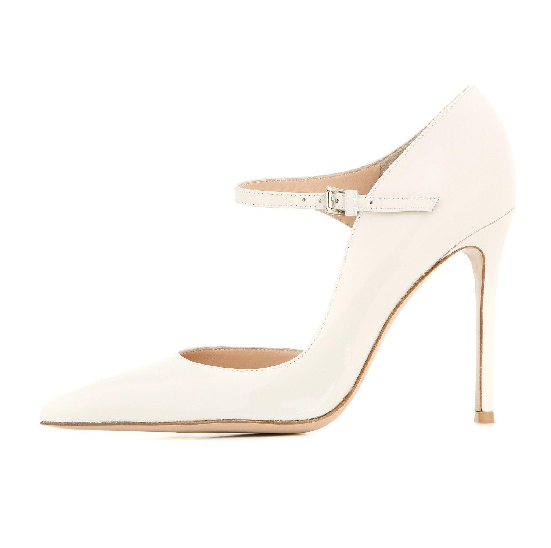 Zandina Femmes De Mode À La Main Marry Janes Pointé Toe 100mm Haut Talon Partie De Bal De Soirée Pompes Stiletto Chaussures Blanc K328