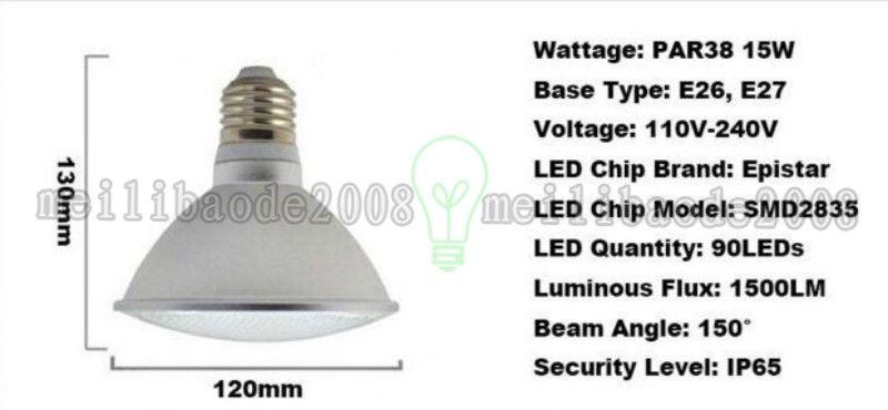 IP65 Étanche PAR20 PAR30 PAR38 E26 E27 LED 110V-240V 7W 12W 15W Dimmable LED Plafonnier Spot Lumières Ampoule MYY