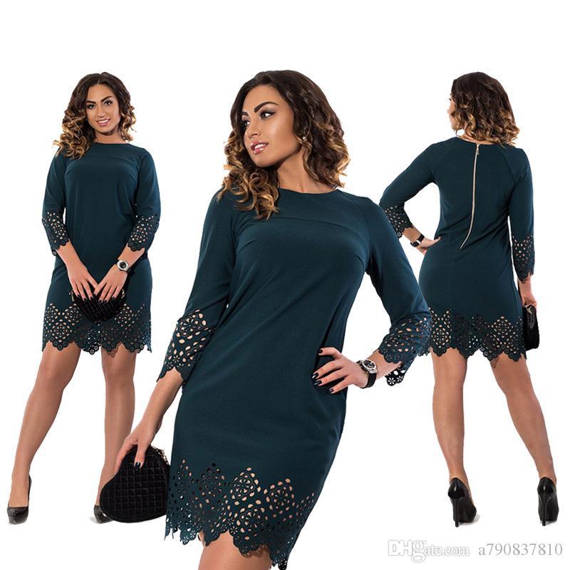 2017 Nouveau Haute Qualité Creux Out Robes Plus La Taille Femmes Vêtements Robe Rouge Robes D'été Femmes Grande Taille 6XL Femmes Robe NYC375
