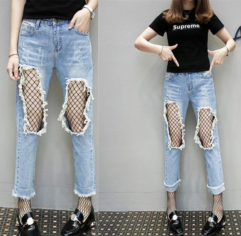 c2ff89586d80 2019 2017 Spring Summer New Beggar Nets Big Hole Jeans Girl Slim Light  Loose Pants Nine Tide From Hsk999