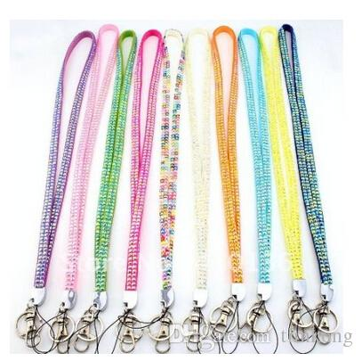 Pendant Necklaces Bling Lanyard Crystal Rhinestone in neck with claw clasp ID Badge Holder for Mobile phone