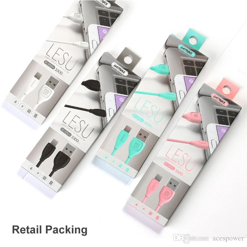 Original Remax Type C 1M 3FT USB Micro Charger Cable V8 Micro Charge Data Cable For Samsung Galaxy Note 10 Plus Mate 30