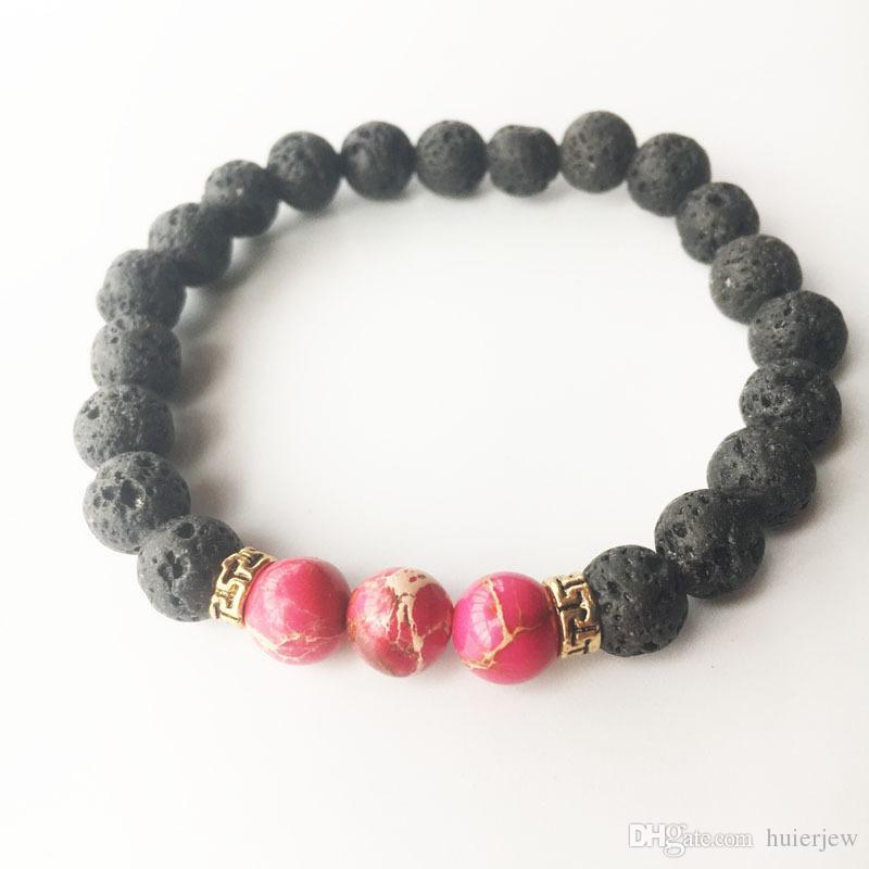 Lavastein Stein Perlen Armband Charm Rock Naturstein Türkis Tigerauge Perlen Armband Modeschmuck Handwerk Männer Chakra Armband