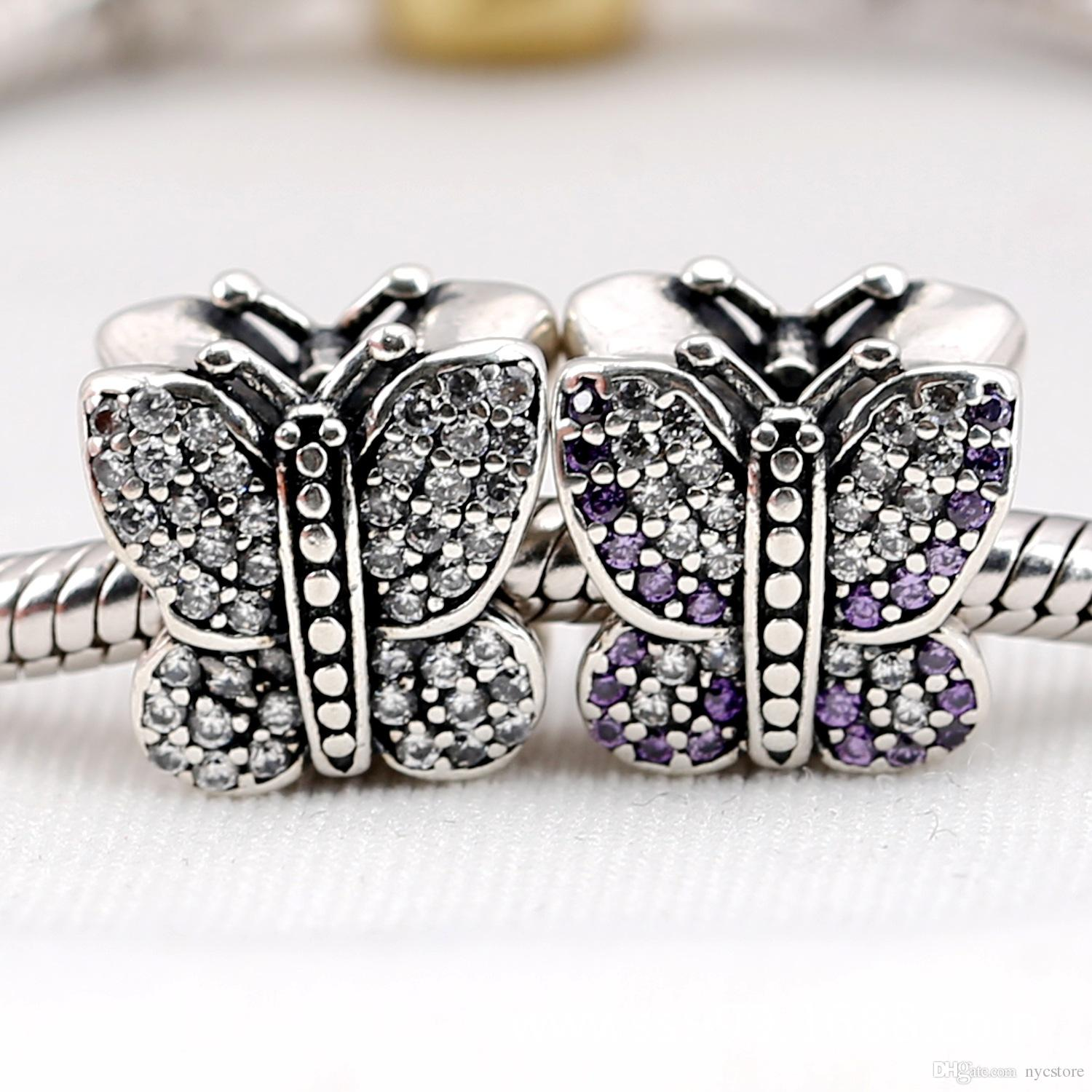 Stamped S925 925 Sterling Silver Sparkling Butterfly Charm Bead with CZ Fits European Style Jewelry Bracelets Necklaces Pendants