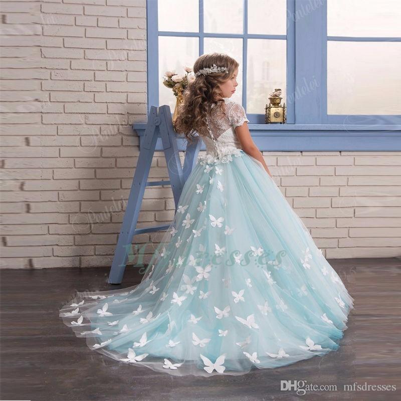 2017 azul claro de la flor de la muchacha viste con la mariposa de manga corta vestido de bola Scoop primeras muchachas de la comunión vestido de las muchachas del desfile vestido Nuevo