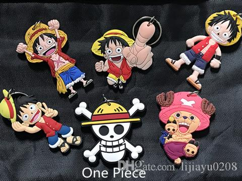 ONE PIECE Monkey D Luffy PVC two-side Keychain Pendants For Bag Charms Car Key Ornament Animation And Comic Fans