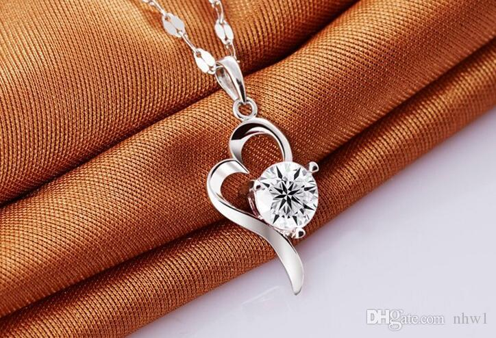 Women Heart Necklaces & Pendants Silver Plated Jewelry Fashion New Crystal Necklace For Girls White Purple Color