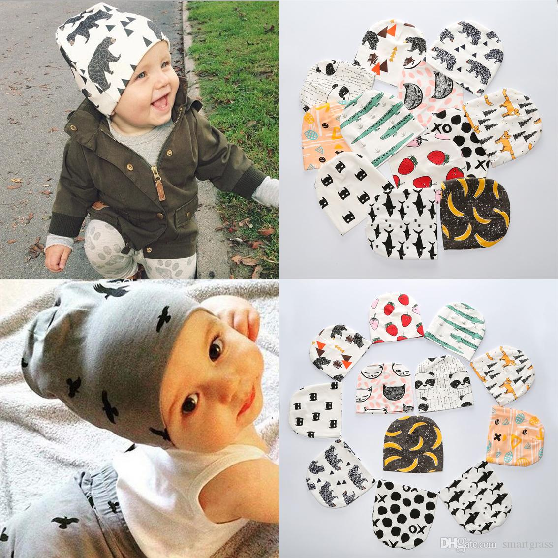 e88adb8a9 2019 26 Patterns Ins Baby Hats Cute Printed Baby Beanie Hat Boy Girl Ear  Muff Newborn Cotton Toddler Hats Baby Cap 16112201 From Smartgrass, $2.34 |  DHgate.