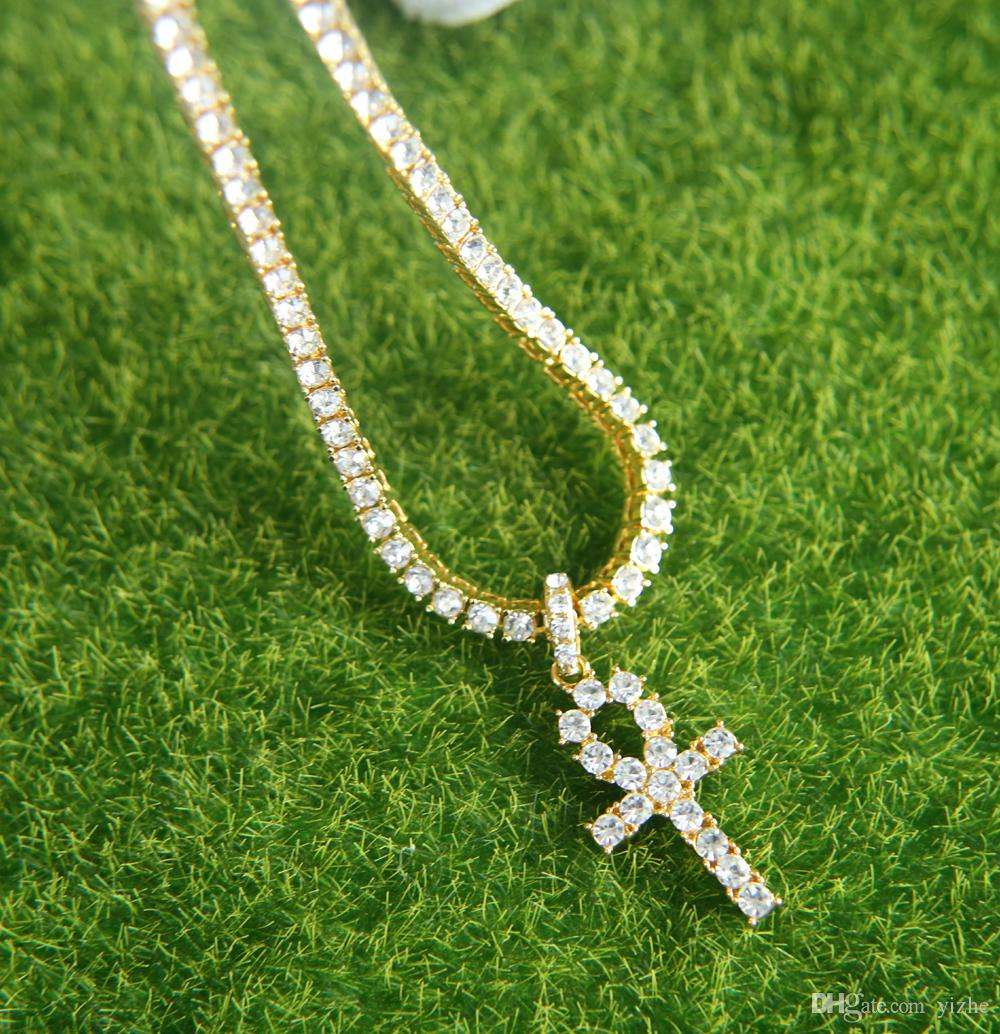 Big cz cross pendant necklace for mens hip hop jewelry with gold white gold plated long tennis chain necklace jewelry for gift