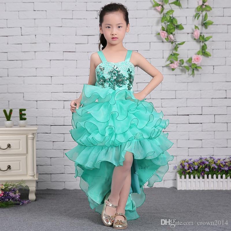 Blau Weiß High Low Blumenmädchen Kleider Für Hochzeiten Organza Rüschen Spitze Applique Perlen Kleines Mädchen Festzug Party Geburtstag Kommunion Kleid