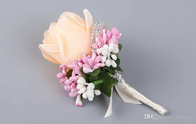 2017 Nuevos es para Nupcial Novio Ramilletes de Boda rosa flor Traje de Boda Boutonnieres Accesorios Pin Broche de Decoración