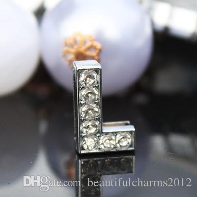 / 10mm L lettera di diapositiva piena di strass Bling accessori in lega fai da te misura 10mm braccialetto braccialetto 0032