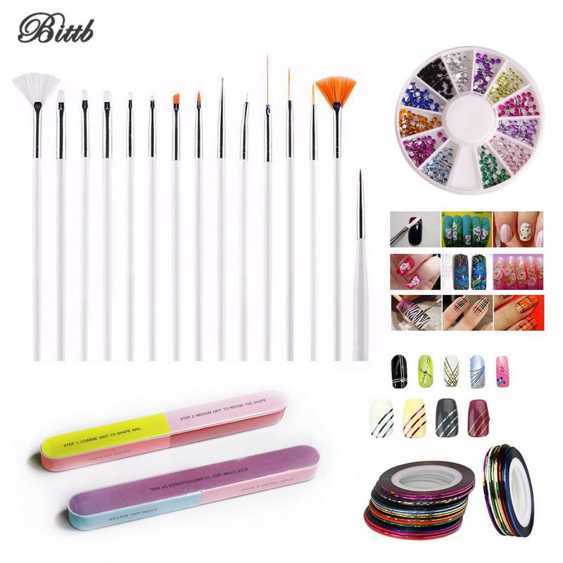 Bittb Nail Art Tool Set Brush Rhinestones Dotting Pen Sticker Rolls ...