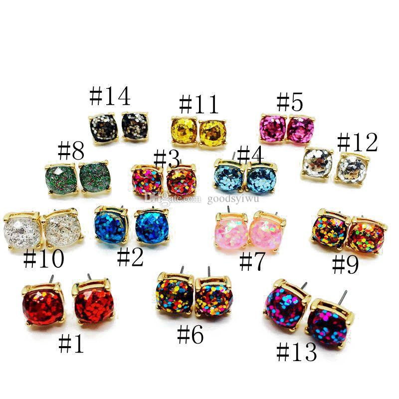 Hot Popular Glitter Resin Square Earrings Various fantasy Colors Imitated opal Stone stud earrings Gold Plated Mix Colors
