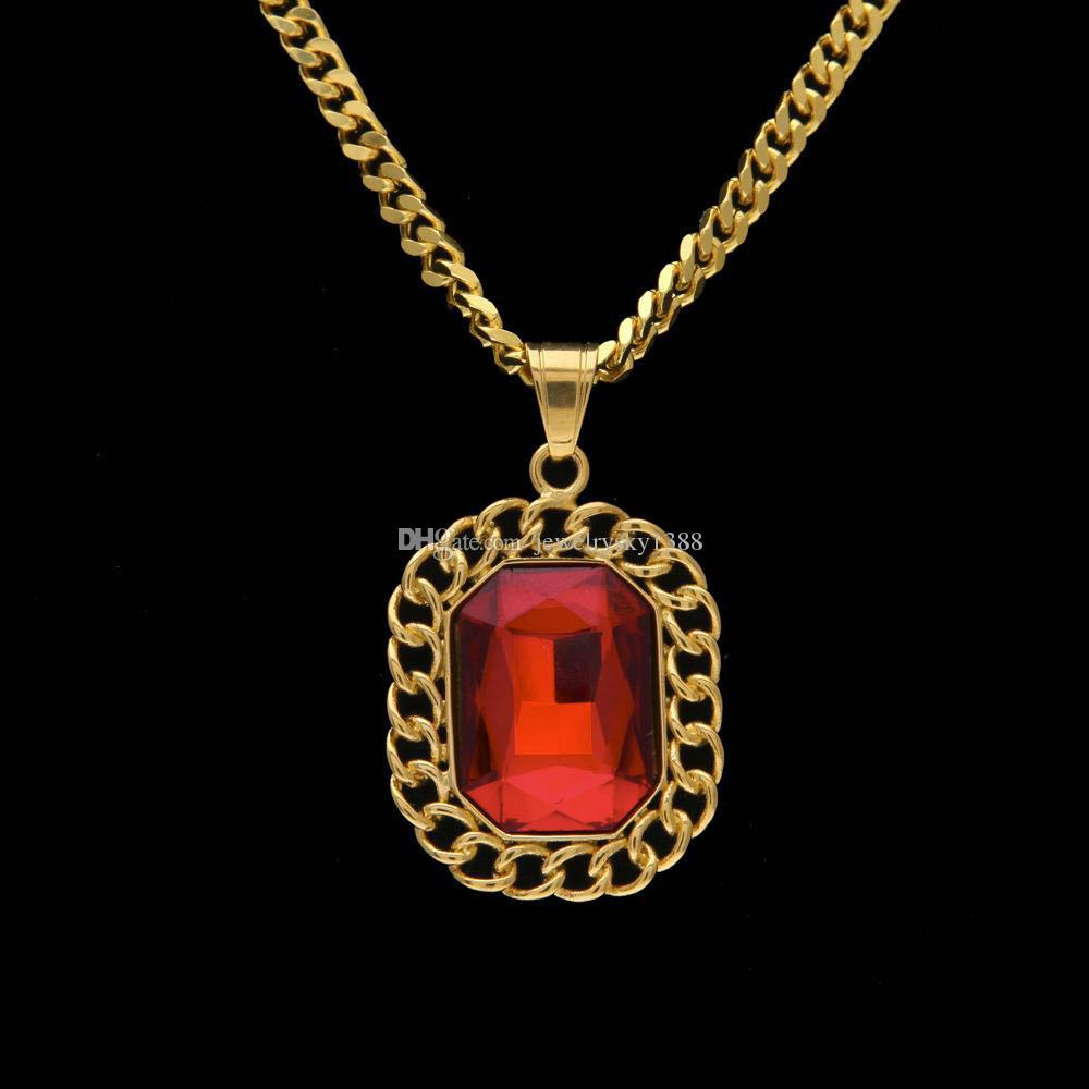 Men hip hop luxury lace red ruby pendants necklaces top quality men hip hop luxury lace red ruby pendants necklaces top quality jewelry with stainless steel cuban mozeypictures Image collections