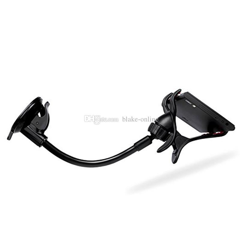 Автомобильный держатель длинная рука универсальный лобовое стекло 360 градусов вращения с двойными зажимами для iPhone Samsung GPS и коврик