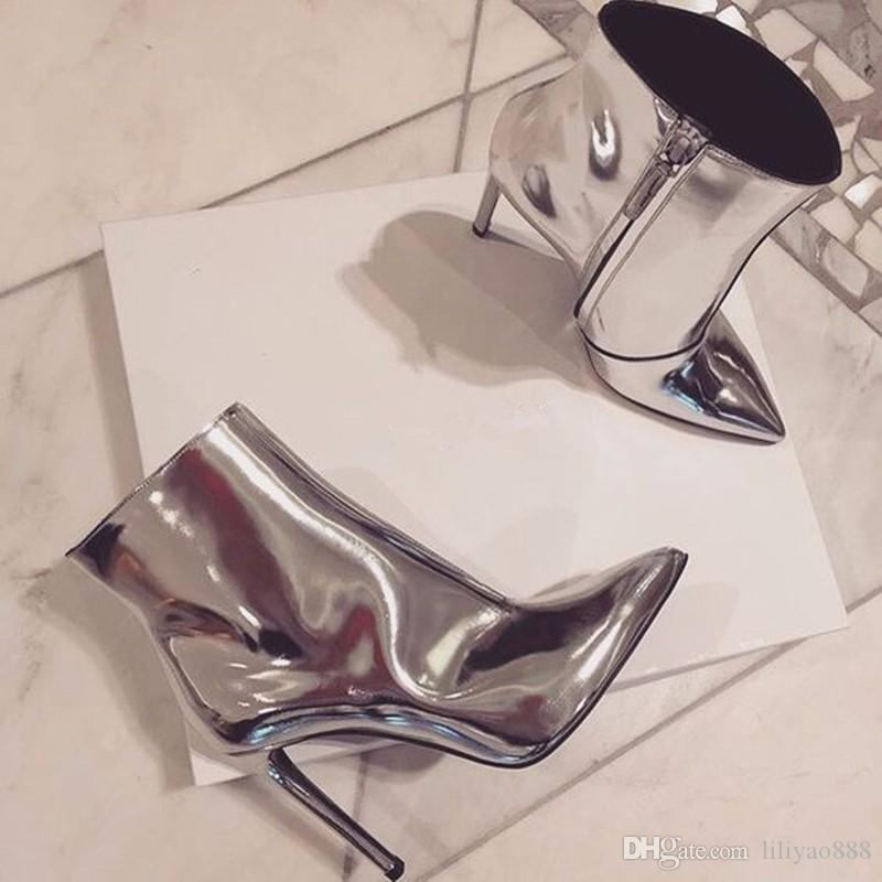 New Arrival High Heels Autumn Fashion Dress Women Ankle Boots Street Style Silver Metallic Patent Leather half Boots