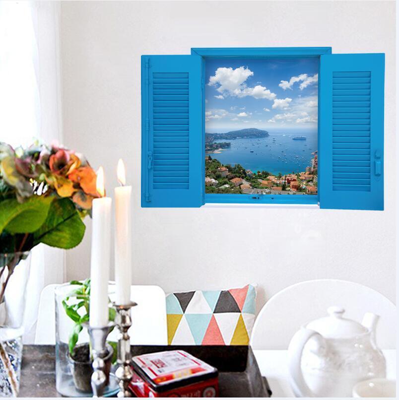 sk9060 warm romantic blus false window scenery sea 3d wall stickers