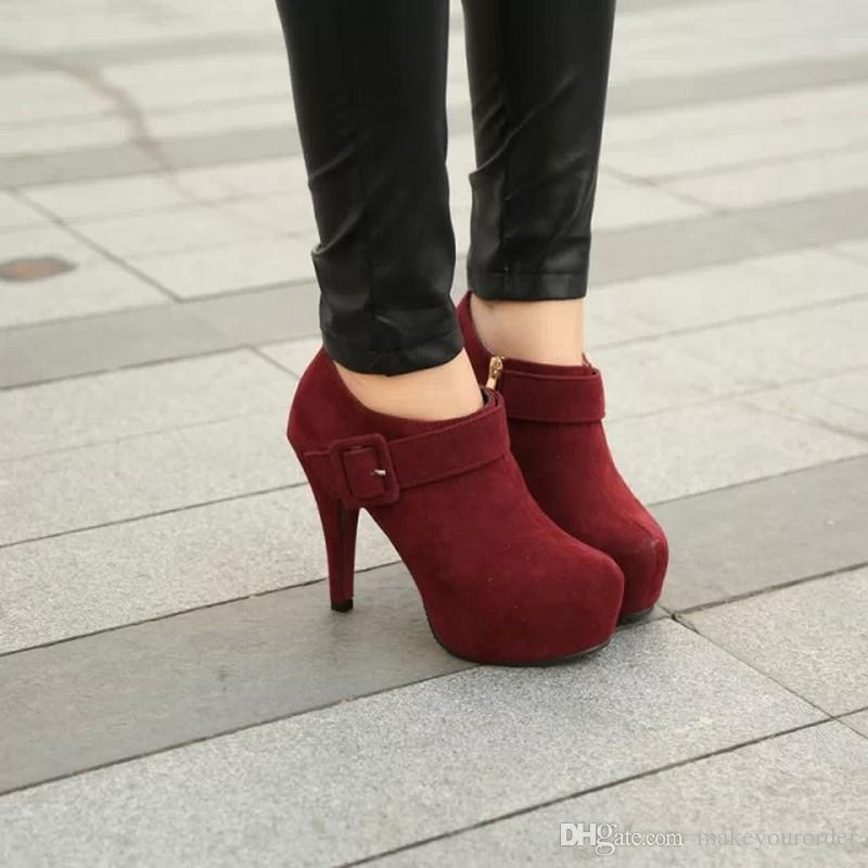 factory price hot seller high heel round nose platform frosted flock napped leather Buckle women short boot