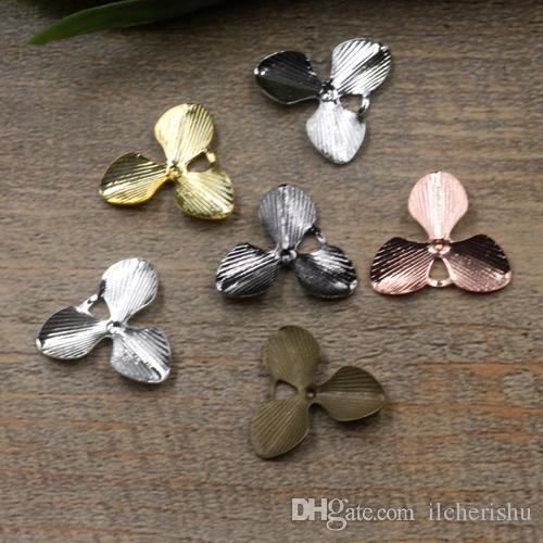 07661 18mm antique bronze/silver/rose gold/gun black filigree flower charms for jewelry making, metal bead cap bracelet & necklace pendants