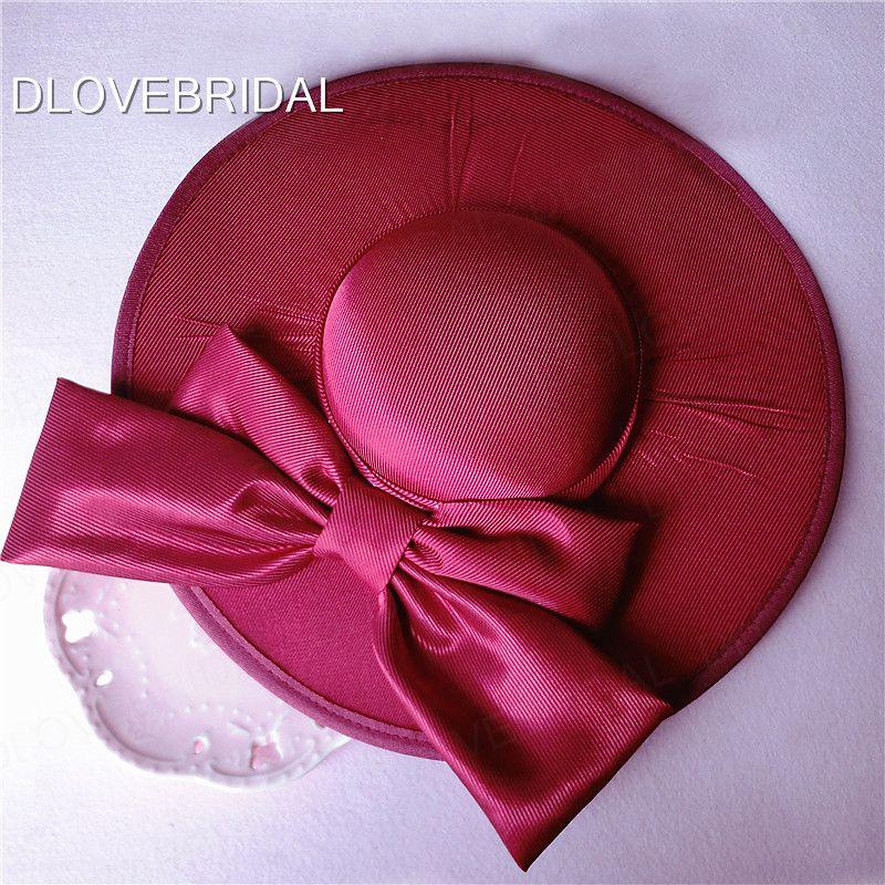 Bordo Kırmızı Saten Yay Gelin Şapka Bahçe Düğün Saç Aksesuarı Gelin Anne Özel Durum Parti Dekorasyon Fotoğraf Şapka Ücretsiz Kargo