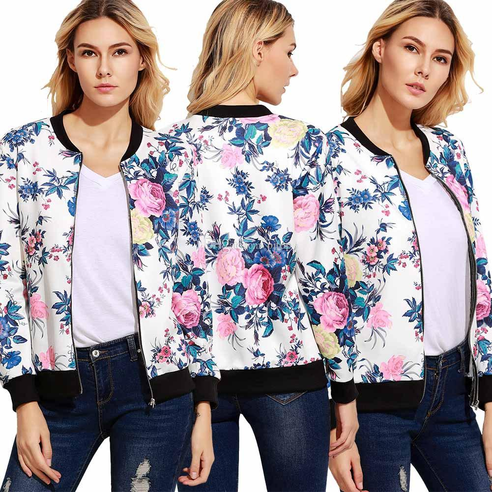 New Fashion Women'S Jackets Long Sleeves Print Flower Zipper ...