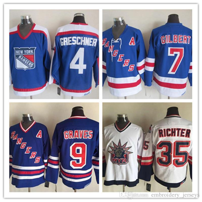 ... 2018 throwback new york rangers hockey ccm 4 ron greschner blue 7 rod  gilbert white 9 dd9398731