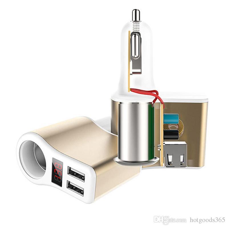 Nuevo tipo de cargador de coche para iPhone Samsung 2-Port USB Cargador de coche Pantalla LED Encendedor de cigarrillos Cargador Moblie Xiaomi Adaptador de teléfono