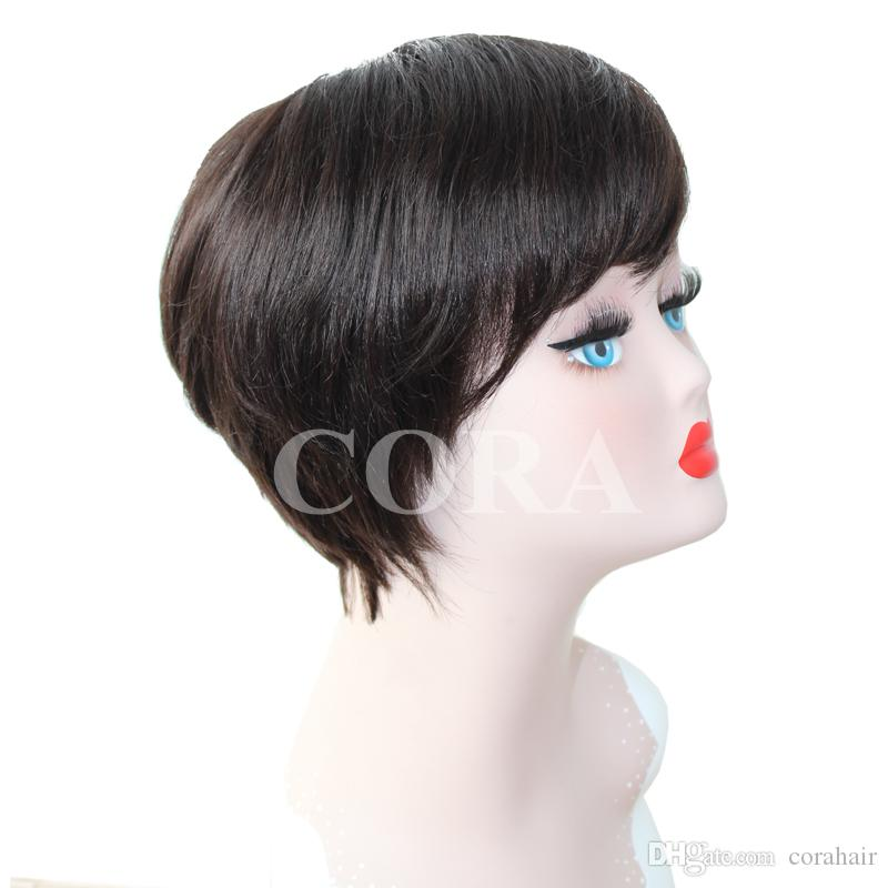 Human hair short cut 6inch None bob lace wigs with bangs with natural hairline with strap at the back