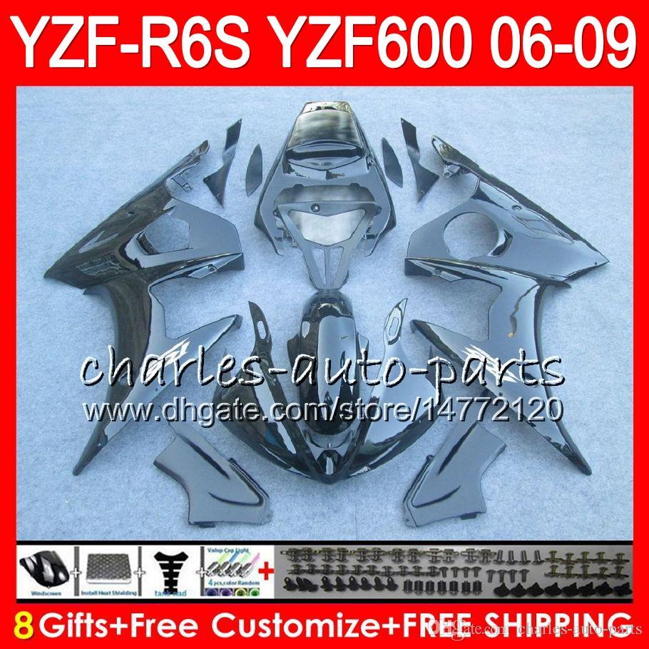 8Gifts Body For YAMAHA YZF600 YZFR6S 06 07 08 09 57NO11 gloss black YZF R6 S YZF 600 YZF-R6S YZF R6S 2006 2007 2008 2009 Fairing kit