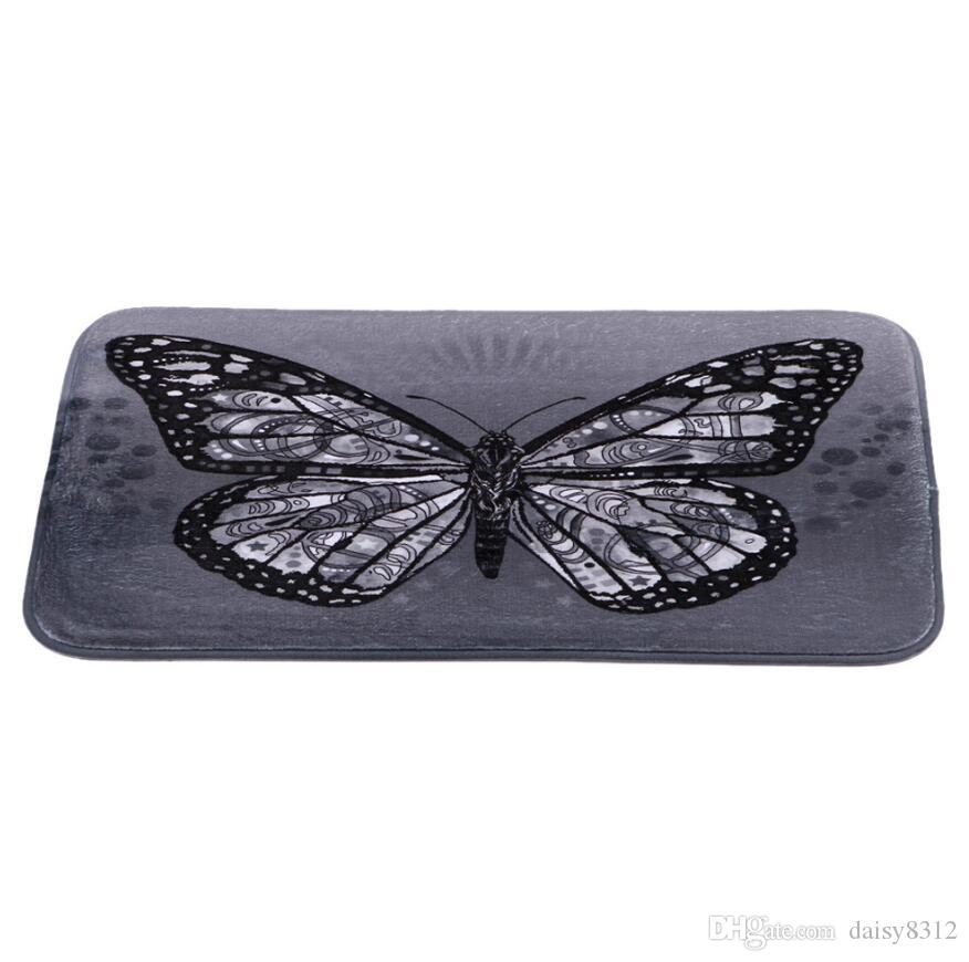 New 40*60cm Butterfly Bath Mats Anti-Slip Rugs Coral Fleece Carpet For For Bathroom Bedroom Doormat Online