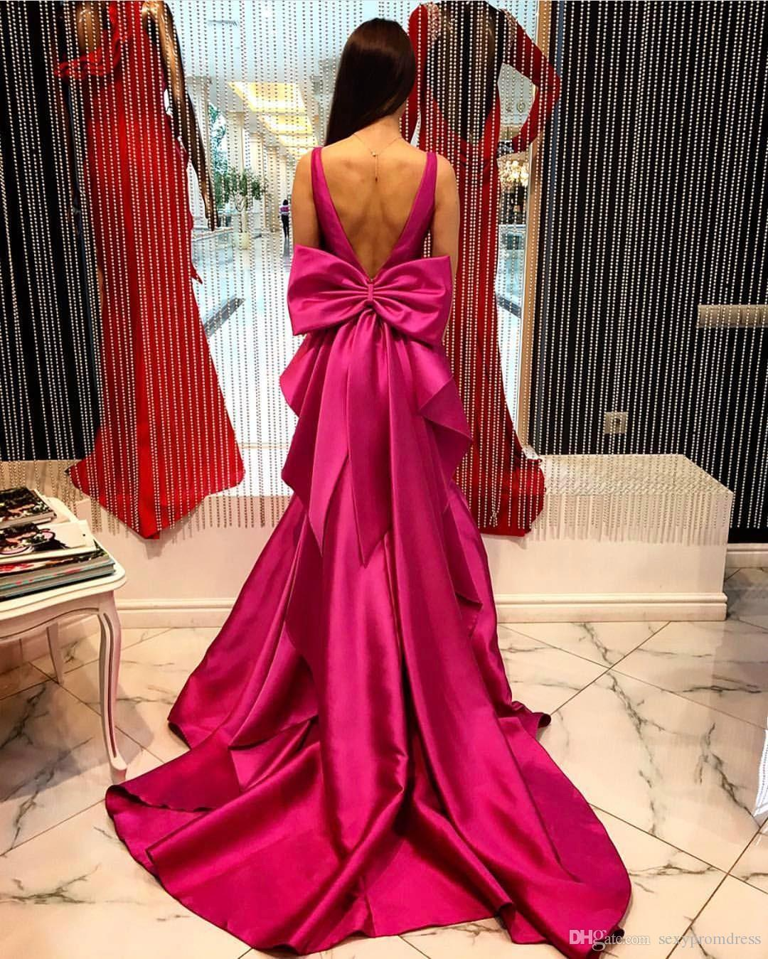 Fushia Backless Satin Evening Dresses 2018 Deep V Neck Sleeveless Mermaid Prom Dresses With Big Bow Floor Length Formal Party Dress
