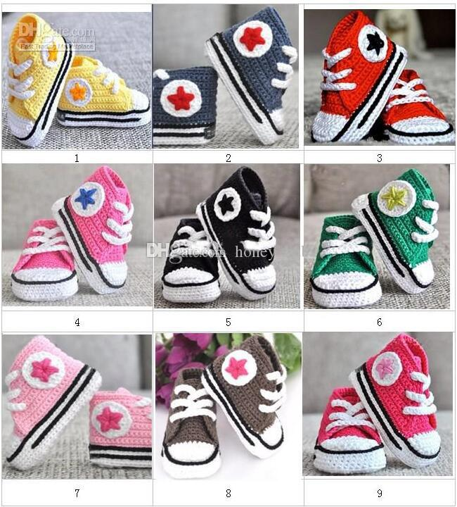 Baby First Walkers Crochet Sneakers Tennis Booties Boys Girls Star Sports Shoes Soft Indoor Flats Newborn Infant Sport Shoes Cotton 0-12M