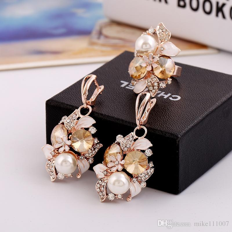 2018 Rose Gold Plated Jewelry Sets For Women Flower Shape Resin