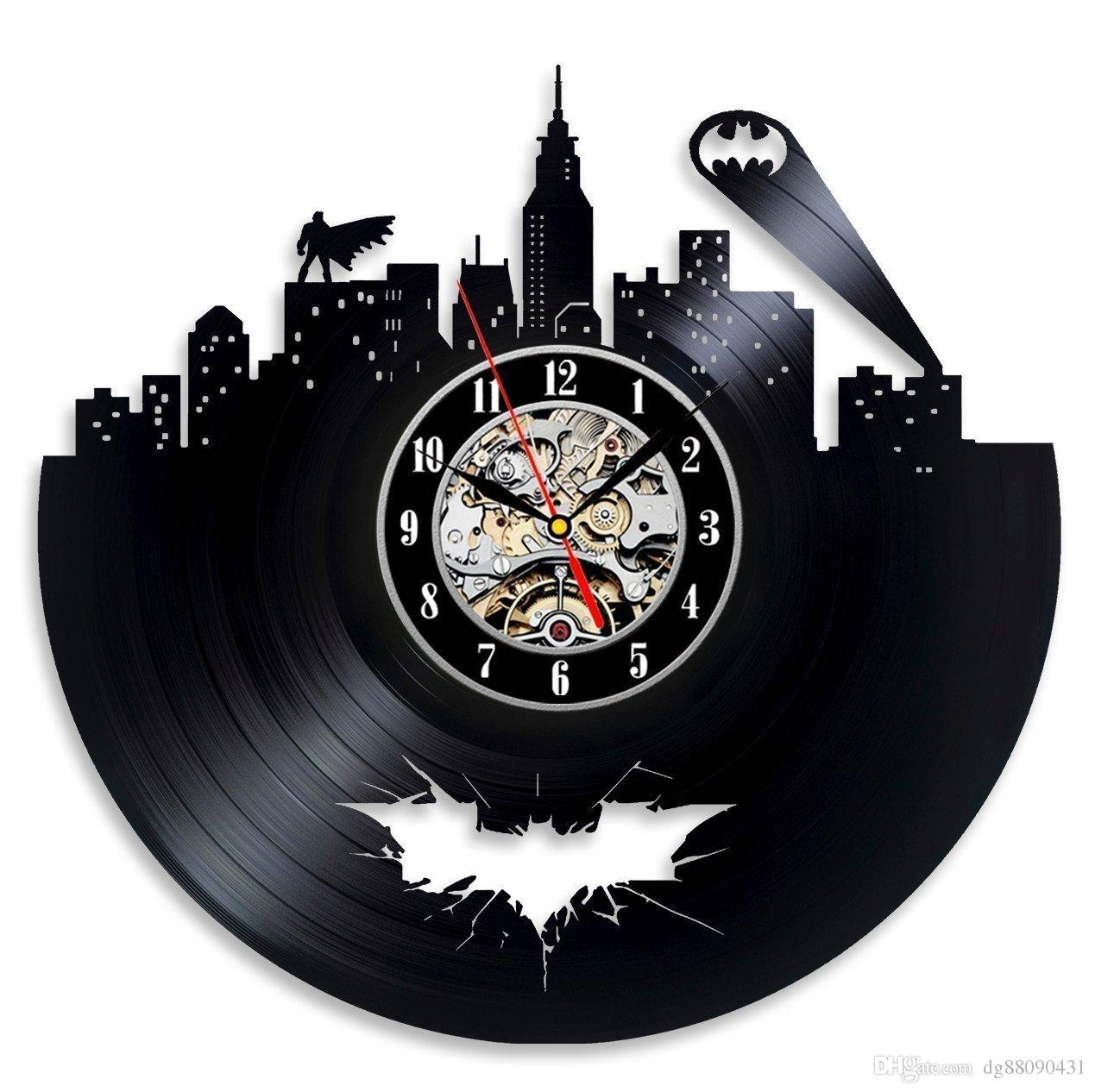 Vinyl Record Wall Clock Batman Gift Idea For S Decoration Party And De Modern Kitchen Clocks