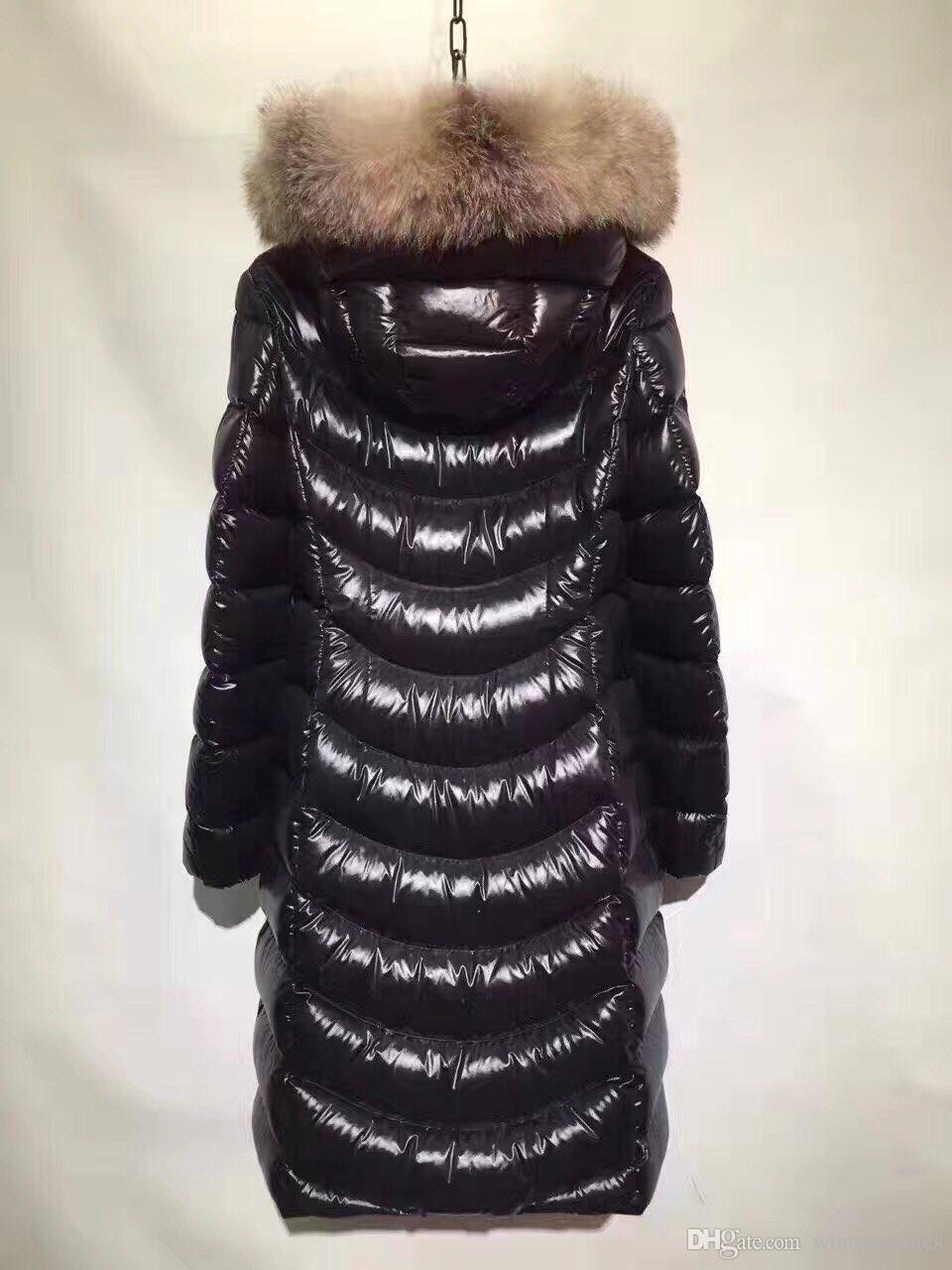 Тонкий длинный пуховик 90% Puffer Duck Одеяло Real меховой воротник Матовый вниз пальто с длинным рукавом Женский ветровки