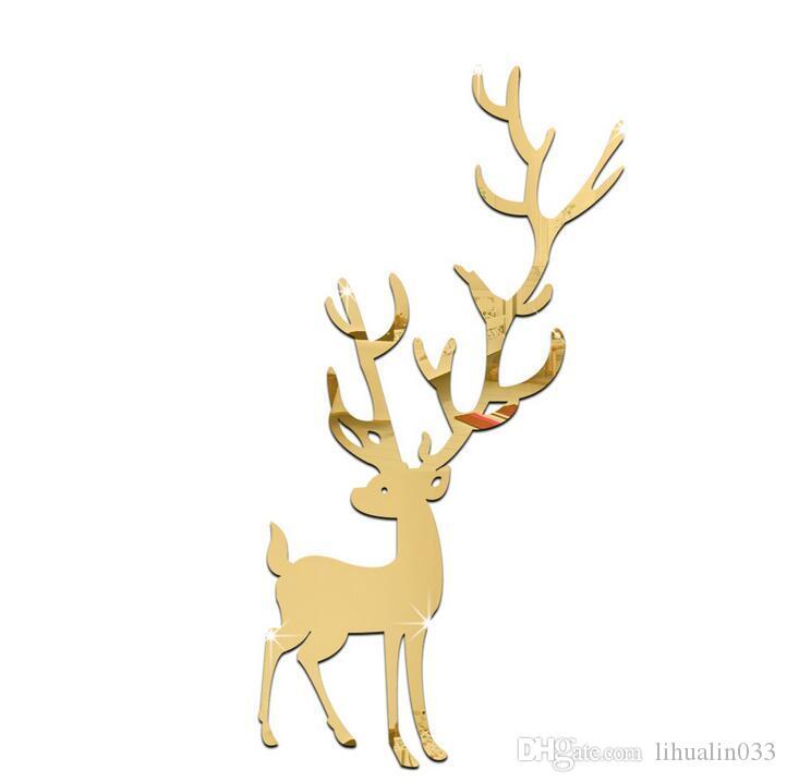 7 Unids / set Espejo de Dibujos Animados Pegatinas de Pared DIY Etiqueta de Ciervo Navidad Home Room Decor Decoración Mural de Pared Etiqueta de La Pared