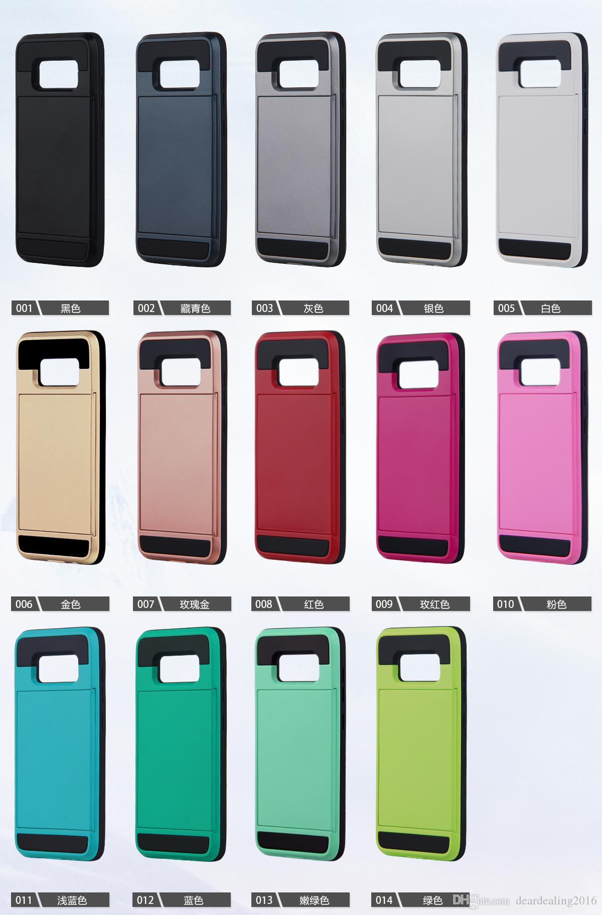2017 Armor Cases Slide Card Case For Samsung S8 S8 Plus Soft Tpu Pc bo Back Cover For J5 J7 Prime J510 J710 2016 Cell Phone Case Mobile Phone Cases From