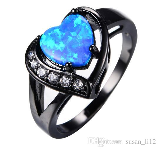 2019 Women Blue Fire Opal Heart Ring With Aaa Zircon Black