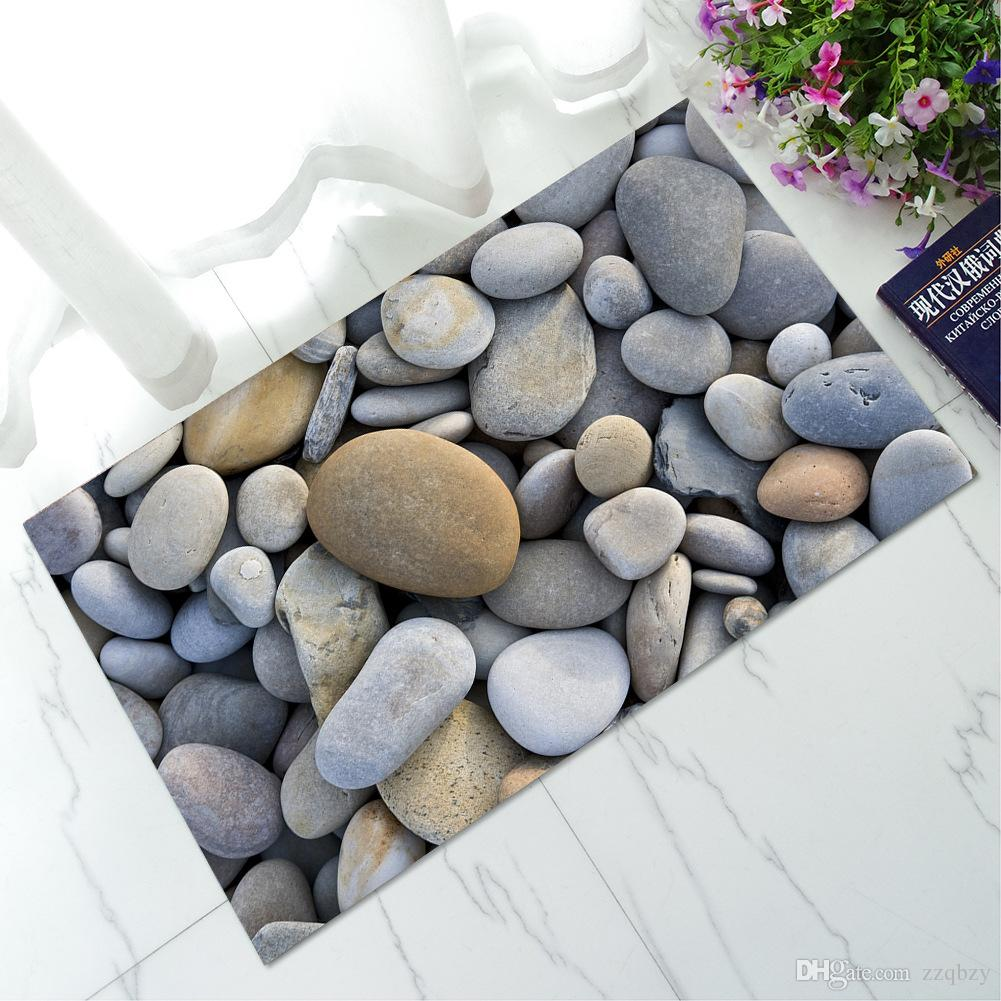 Creative 3D Cobble Stone Welcome Doormats Non-Slip Carpet Bathroom ...