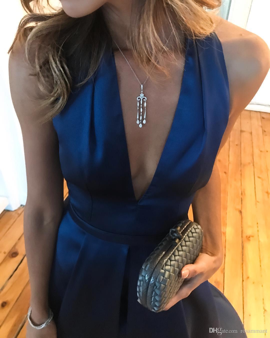 Dress Halter Satin Prom con Split profondo scollo a V robe de SOIRE Nuovo ARRIIVAL