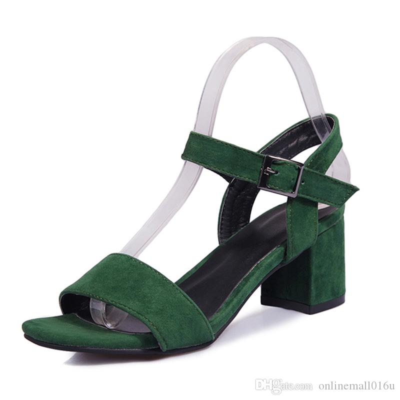 58be11c94d2d Women Sandals Plus Size 34-43 Fashion Summer Buckle Strap High Heel Office  Lady Pump Woman Shoes Black Green Online with  39.53 Piece on  Onlinemall016u s ...
