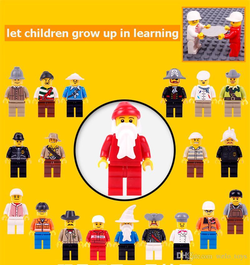 20 шт. лот дети строительные блоки кирпичи мини мультфильм мульти роли цифры куклы игрушки мелкие частицы дети головоломки игрушки модель