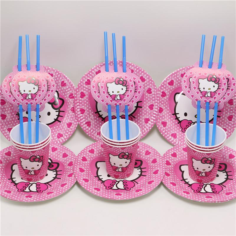 f5eb2f69a Cheap Wholesale-\happy Birthday Party Supplies Decoration Plate Baby Shower  Cup Hello Kitty Straws Kids Favors Disposable Paper Dish