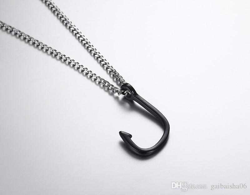 Мужское ожерелье для рыбы для рыбы в золотой серебристый черный тарелка кулон очарователь из нержавеющей стали колье ювелирные изделия 3 цвета